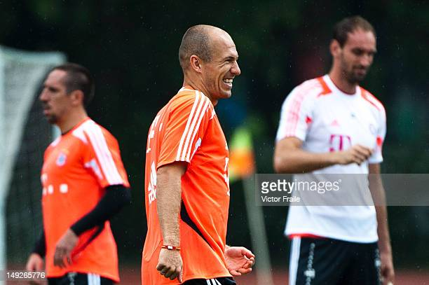 Arjen Robben of Bayern Muenchen during a training session ahead the friendly match against VfL Wolfsburg as part of the Audi Football Summit 2012 on...