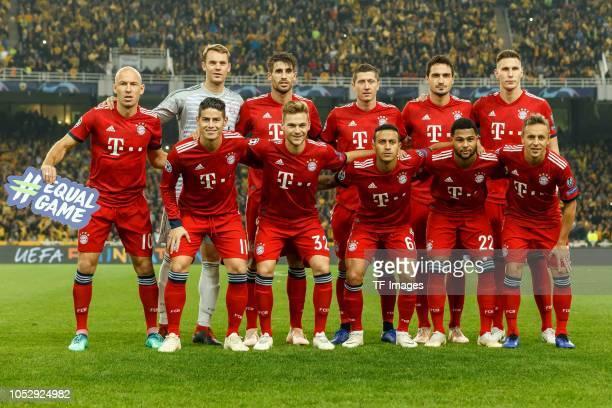 Arjen Robben of Bayern Muenchen, Goalkeeper Manuel Neuer of Bayern Muenchen, Javier Martinez of Bayern Muenchen, Robert Lewandowski of Bayern...