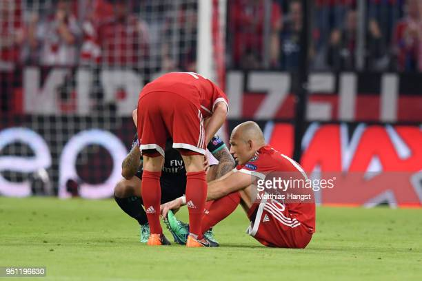 Arjen Robben of Bayern Muenchen goes down following in an injury during the UEFA Champions League Semi Final First Leg match between Bayern Muenchen...