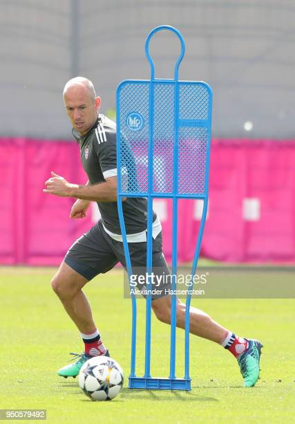 Arjen Robben of Bayern Muenchen in action during a Bayern Muenchen training session ahead of the UEFA Champions League 1st leg semifinal match...