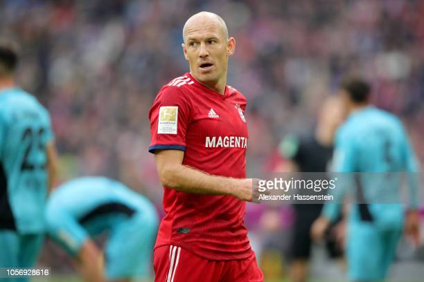 Arjen Robben of Bayern Muenchen looks on during the Bundesliga match between FC Bayern Muenchen and SportClub Freiburg at Allianz Arena on November 3...