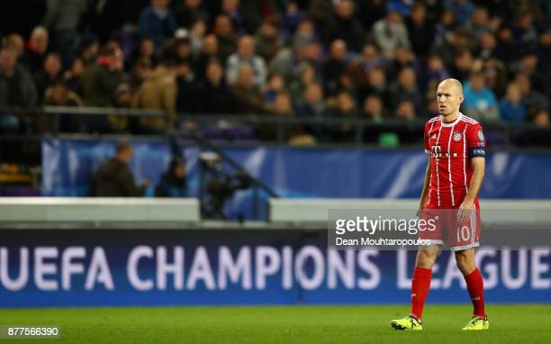 Arjen Robben of Bayern Muenchen looks on during the UEFA Champions League group B match between RSC Anderlecht and Bayern Muenchen at Constant Vanden...