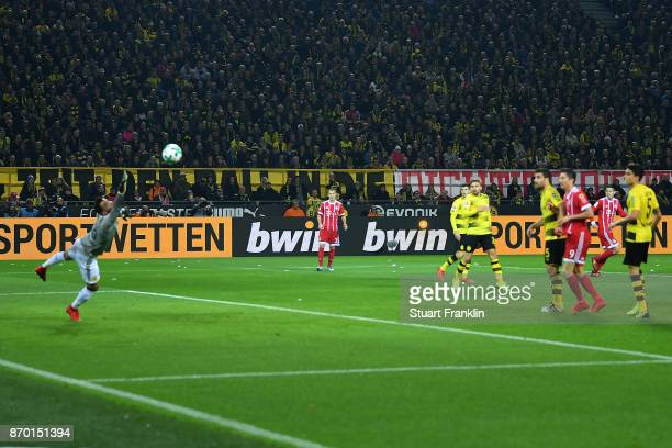 Arjen Robben of Bayern Muenchen shoots to score a goal to make it 10 during the Bundesliga match between Borussia Dortmund and FC Bayern Muenchen at...