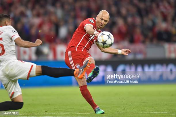 Arjen Robben of Bayern Muenchen takes a shot on goal during UEFA Champions League Quarter Final Second Leg match between Bayern Muenchen and Sevilla...