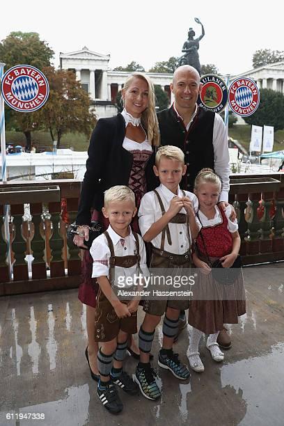 Arjen Robben of Bayern Muenchenand Bernadien Robben attend the Oktoberfest beer festival at Kaefer Wiesenschaenke tent at Theresienwiese on October 2...