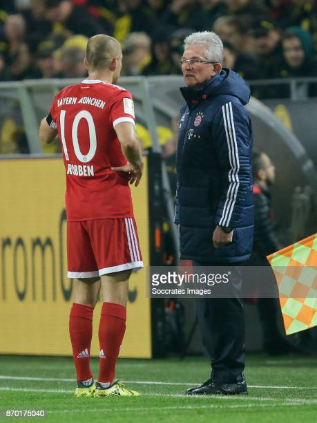 Arjen Robben of Bayern Munchen coach Jupp Heynckes of Bayern Munchen during the German Bundesliga match between Borussia Dortmund v Bayern Munchen at...