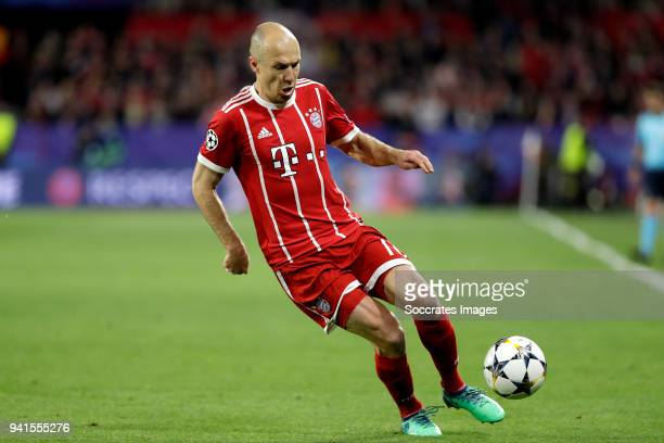 Arjen Robben of Bayern Munchen during the UEFA Champions League match between Sevilla v Bayern Munchen at the Estadio Ramon Sanchez Pizjuan on April...