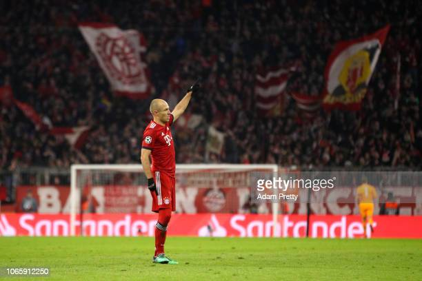 Arjen Robben of Bayern Munich celebrates after scoring his team's second goal during the UEFA Champions League Group E match between FC Bayern...