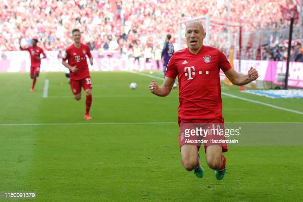 Arjen Robben of Bayern Munich celebrates after scoring his team's fifth goal during the Bundesliga match between FC Bayern Muenchen and Eintracht...
