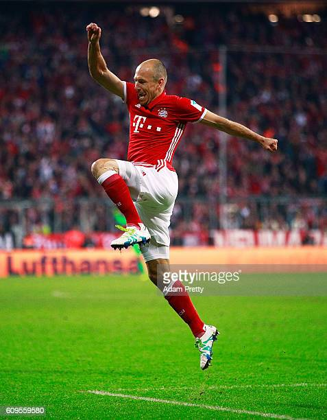 Arjen Robben of Bayern Munich celebrates scoring a goal during the Bundesliga match between Bayern Muenchen and Hertha BSC at Allianz Arena on...