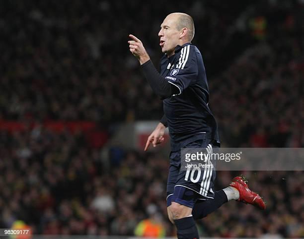 Arjen Robben of Bayern Munich celebrates scoring their second goal during the UEFA Champions League QuarterFinal Second Leg match between Manchester...