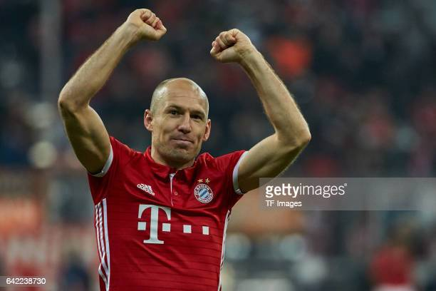 Arjen Robben of Bayern Munich celebrates their win after the UEFA Champions League Round of 16 first leg match between FC Bayern Muenchen and Arsenal...