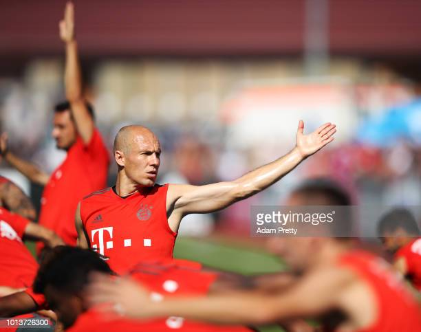 Arjen Robben of Bayern Munich in action during FC Bayern Muenchen pre season training on August 9, 2018 in Rottach-Egern, Germany.