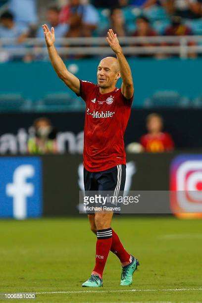 Arjen Robben of Bayern Munich reacts after scoring a goal in the first half against the Manchester City during the International Champions Cup at...