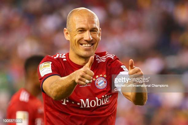 Arjen Robben of Bayern Munich reacts in the second half against Juventus during the International Champions Cup 2018 at Lincoln Financial Field on...