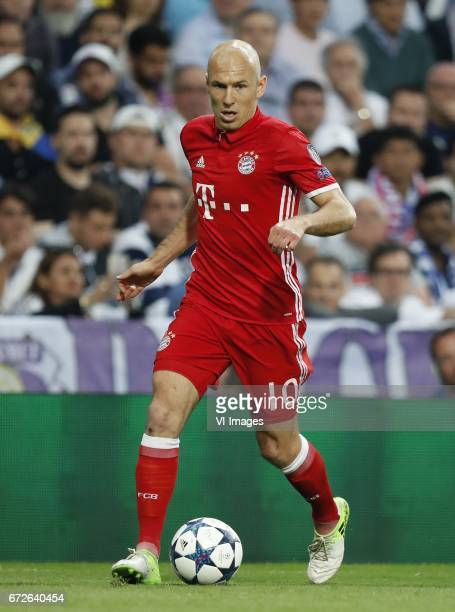 Arjen Robben of Bayern Munichduring the UEFA Champions League quarter final match between Real Madrid and Bayern Munich on April 18 2017 at the...