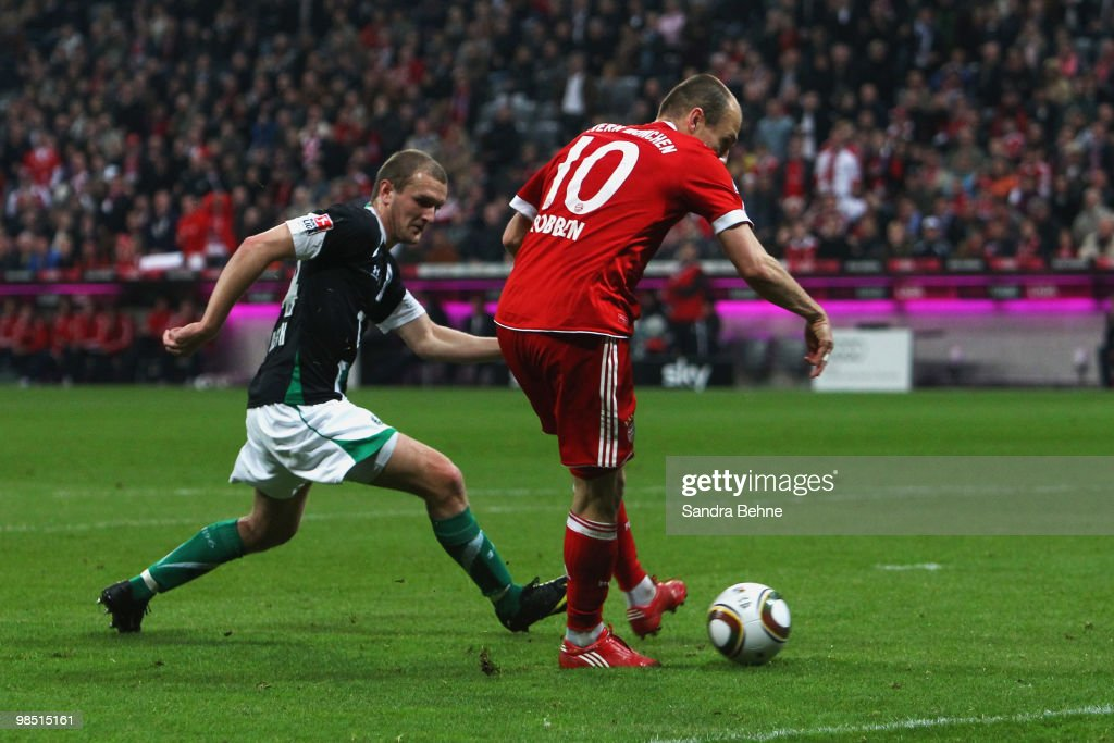 Arjen Robben of Bayern scores the seventh goal during the Bundesliga match between FC Bayern Muenchen and Hannover 96 at Allianz Arena on April 17, 2010, in Munich, Germany.