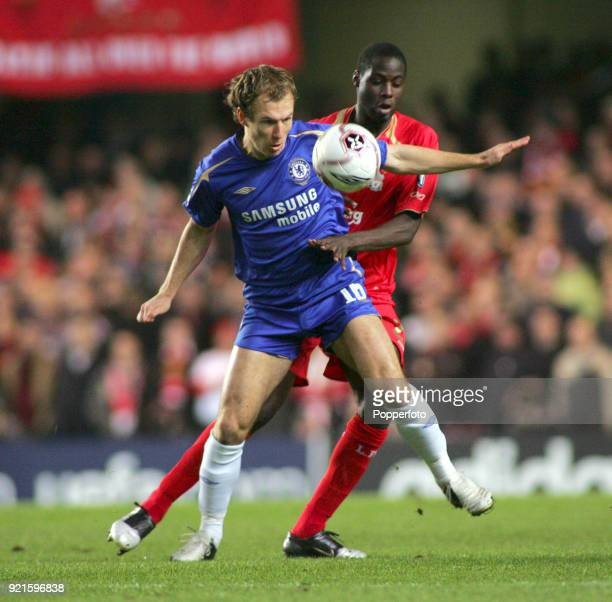 Arjen Robben of Chelsea and Mohamed Sissoko of Liverpool in action during the UEFA Champions League Group G match between Chelsea and Liverpool at...