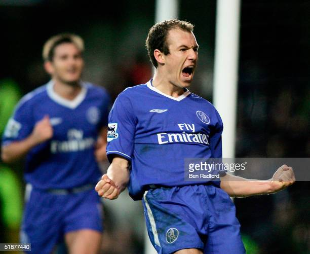 Arjen Robben of Chelsea celebrates scoring his teams third goal during the Barclays Premiership match between Chelsea and Norwich City at Stamford...