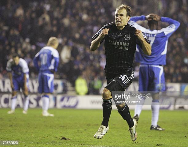 Arjen Robben of Chelsea celebrates the winning goal during the Barclays Premiership match between Wigan Athletic and Chelsea at The JJB Stadium on...