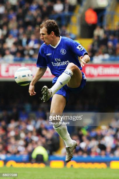 Arjen Robben of Chelsea shoots during the Barclays Premiership match between Chelsea and Fulham at Stamford Bridge on April 23 2005 in London England...