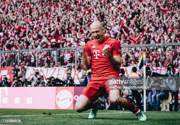 Arjen Robben of FC Bayern München celebrates after scoring his team's fifth goal during the Bundesliga match between FC Bayern München and Eintracht...