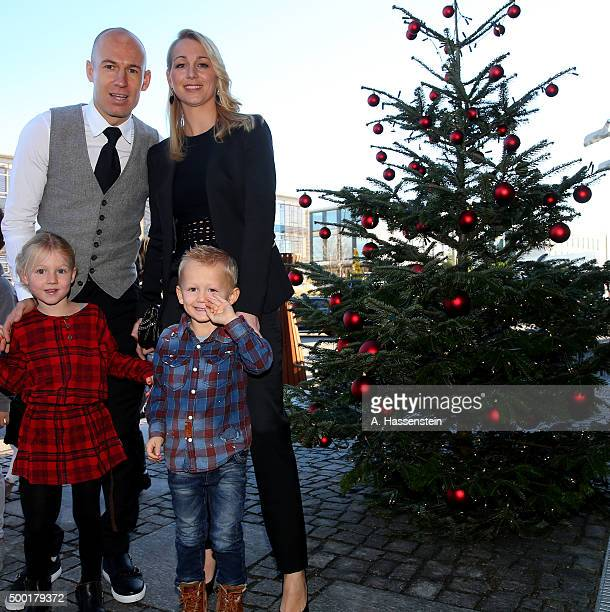 Arjen Robben of FC Bayern Muenchen arrives with his wife Bernadien Robben for the FC Bayern Muenchen Christmas Party at Alfons Schuhbeck`s...