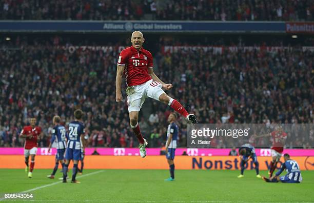 Arjen Robben of FC Bayern Muenchen celebrates his first goal during the Bundesliga match between Bayern Muenchen and Hertha BSC at Allianz Arena on...