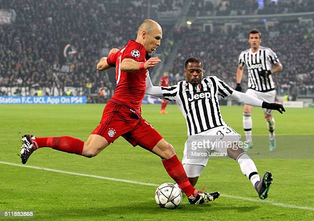Arjen Robben of FC Bayern Muenchen is challenged by Patrice Evra of Juventus FC during the UEFA Champions League Round of 16 first leg match between...