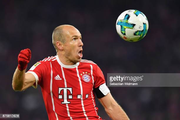 Arjen Robben of FC Bayern Muenchen looks at the ball during the Bundesliga match between FC Bayern Muenchen and FC Augsburg at Allianz Arena on...