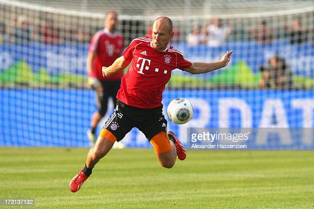 Arjen Robben of FC Bayern Muenchen plays the ball during a training session at Campo Sportivo on July 8 2013 in Arco Italy