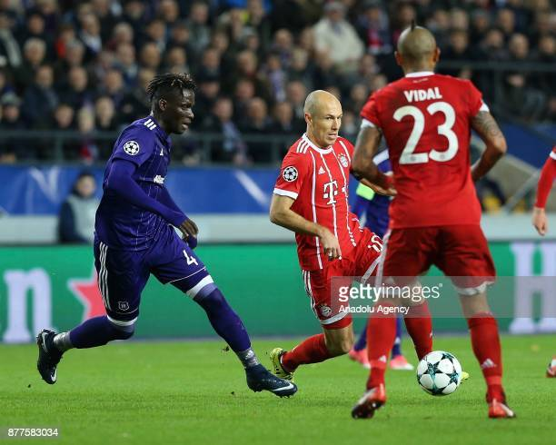 Arjen Robben of FC Bayern Munich in action against Kara Mbodj of Anderlecht during UEFA Champions League Group B soccer match between Anderlecht and...