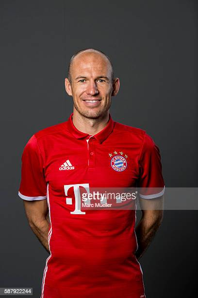 Arjen Robben of FC Bayern Munich pose during the team presentation on August 10 2016 in Munich Germany