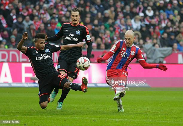Arjen Robben of FC Bayern scores the third goal during the Bundesliga match between FC Bayern Muenchen and Hamburger SV - at Allianz Arena on...