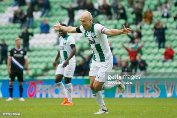Arjen Robben of FC Groningen celebrates 10 during the Club Friendly match between FC Groningen v Arminia Bielefeld at the Hitachi Capital Mobility...