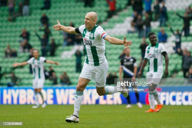 Arjen Robben of FC Groningen celebrates 1-0 during the Club Friendly match between FC Groningen v Arminia Bielefeld at the Hitachi Capital Mobility...