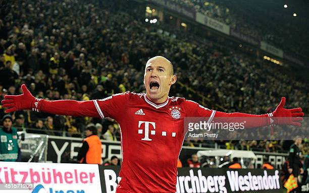 Arjen Robben of FCBayern celebrates after scoring a goal during the Bundesliga match between FC Bayern and Bor Dortmund Signal Iduna Park on November...