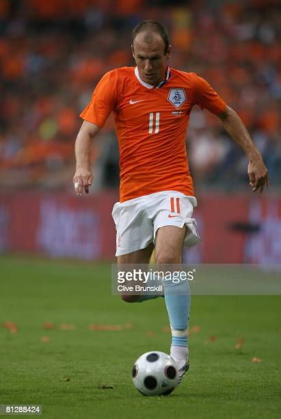 Arjen Robben of Holland in action during the International friendly match between Holland and Denmark at the Phillips Stadium on May 29 2008 in...