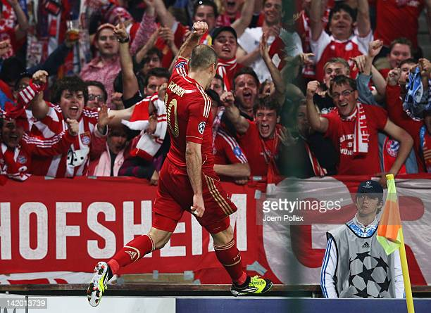 Arjen Robben of Muenchen celebrates after scoring his team's second goal during the UEFA Champions League Quarter Final first leg match between...