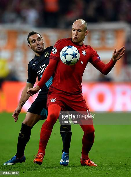 Arjen Robben of Muenchen in action during the UEFA Champions League Group F match between FC Bayern Muenchen and Arsenal FC at the Allianz Arena on...