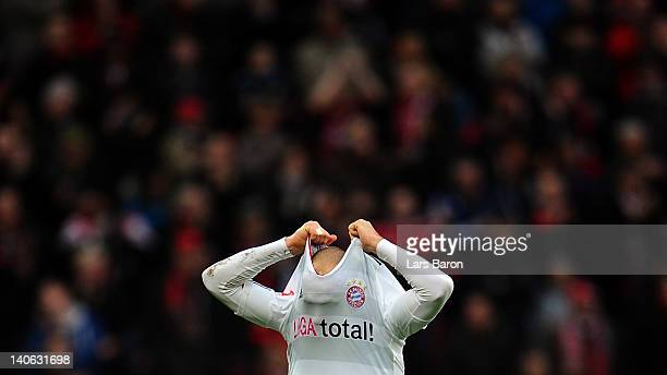 Arjen Robben of Muenchen looks dejected after loosing the Bundesliga match between Bayer 04 Leverkusen and FC Bayern Muenchen at BayArena on March 3,...