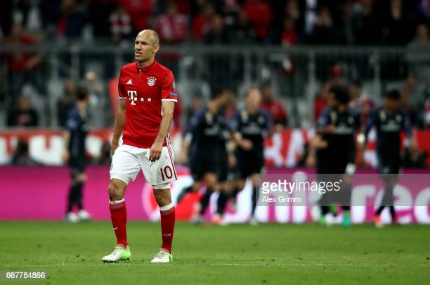 Arjen Robben of Muenchen looks dejected during the UEFA Champions League Quarter Final first leg match between FC Bayern Muenchen and Real Madrid CF...
