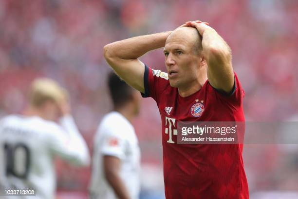Arjen Robben of Muenchen looks on during the Bundesliga match between FC Bayern Muenchen and Bayer 04 Leverkusen at Allianz Arena on September 15...