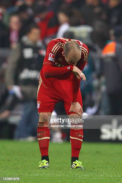 Arjen Robben of Muenchen reacts after the Bundesliga match between FC Bayern Muenchen and FSV Mainz 05 at Allianz Arena on April 14, 2012 in Munich,...