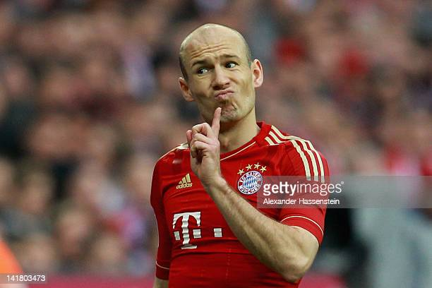 Arjen Robben of Muenchen reacts during the Bundesliga match between FC Bayern Muenchen and Hannover 96 at Allianz Arena on March 24 2012 in Munich...