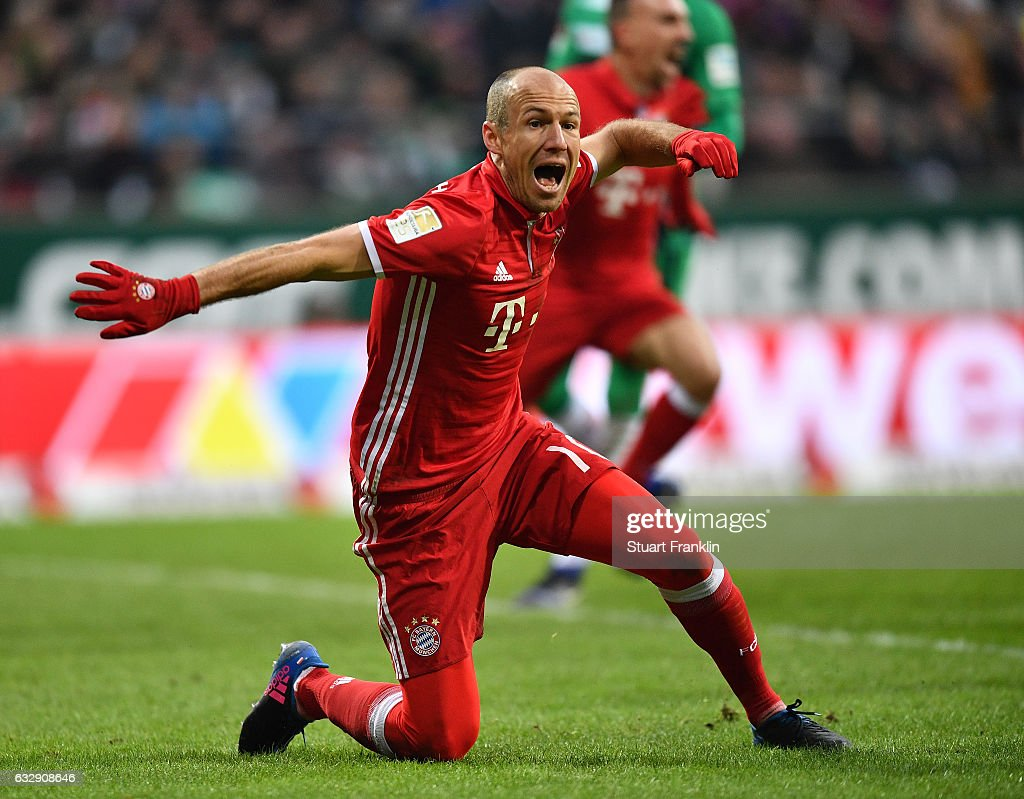 Arjen Robben of Muenchen reacts during the Bundesliga match between Werder Bremen and Bayern Muenchen at Weserstadion on January 28, 2017 in Bremen, Germany.