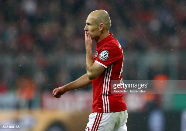 Arjen Robben of Muenchen reacts during the DFB Cup semi final match between FC Bayern Muenchen and Borussia Dortmund at Allianz Arena on April 26...