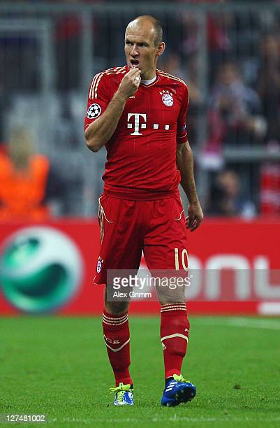 Arjen Robben of Muenchen reacts during the UEFA Champions League group A match between FC Bayern Muenchen and Manchester City at Allianz Arena on...