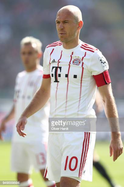 Arjen Robben of Munich gesticulated during the Bundesliga match between Hannover 96 and FC Bayern Muenchen at HDIArena on April 21 2018 in Hanover...