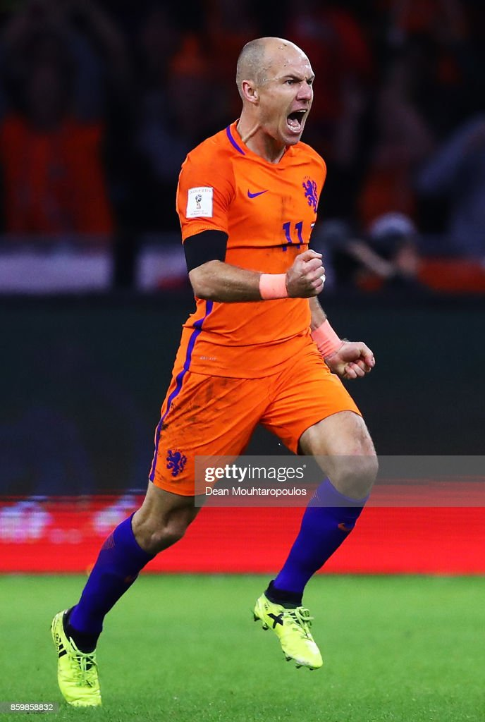 Arjen Robben of Netherlands celebrates scoring the 2nd goal during the FIFA 2018 World Cup Qualifier between Netherlands and Sweden at the Amsterdam Arena on October 10, 2017 in Amsterdam, Netherlands.